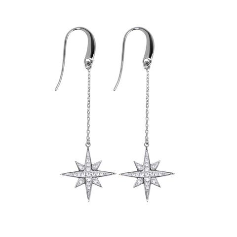 Little wish earring are long drop earrings with stars containing white cubic zirconia stones, 59mm long.