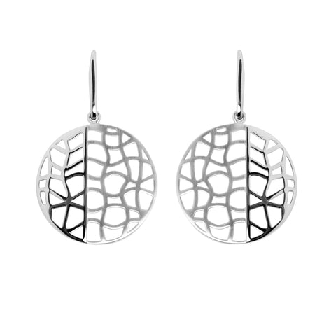 Alma earring is a sterling silver drop earring with cut-out mesh.