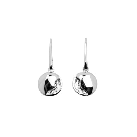 Fermina sterling silver drop earring in a textured matt finish with a  slightly convex and highly polished layer.