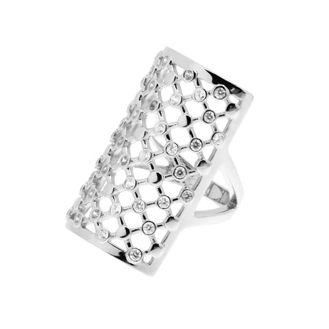 Long, womens, sterling silver ring with with an intricate cut-out lattice pattern with white cubic zirconias at some of the lattice junctions. The ring has a slight curve to fit snug around the finger, 28mm long, ref 7473.
