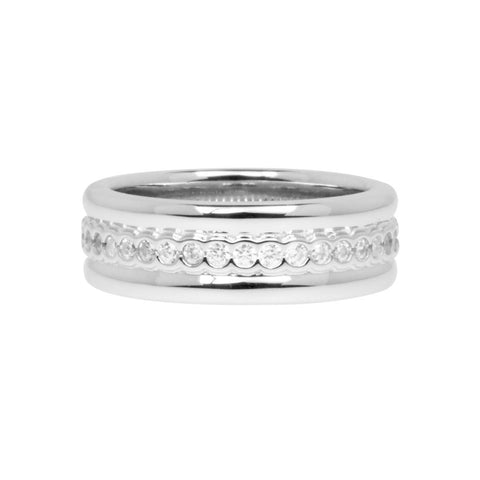 Womens sterling silver ring with continuous row of white cubic zirconia stones, 7mm wide, ref 7483.
