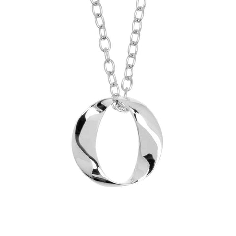 Sterling silver womens round, cut-out pendant in a twisted 'O', 23mm wide, on a silver chain, ref 7519.