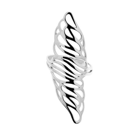Flower essence ring is a long and dynamic sterling silver ring with cut-out floral motifs.  Its slight curvature makes it comfortable to wear.  It's 53mm long and 18mm wide.  Only size S left.