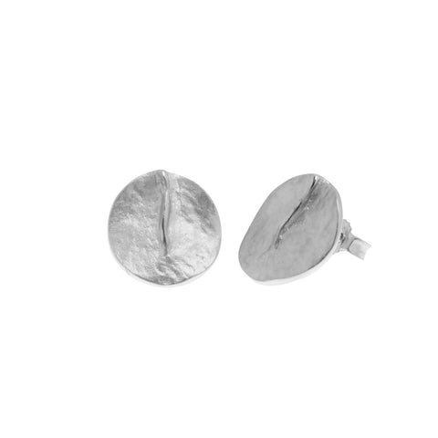 Clementine earring is a sterling silver stud earring in a textured matt finish