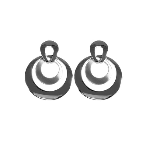 Abella earring comprises two fixed, concentric rings of sterling silver, 25mm long.