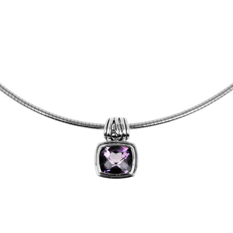 Chrissy pendant amethyst is a sterling silver and amethyst pendant. Buy with chain, choker or on its own.