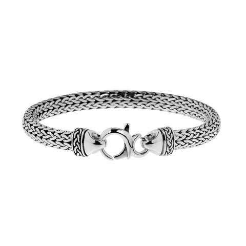 Mens bracelet crafted from woven sterling silver, 4.5mm thick and 6mm wide, ref 6424.