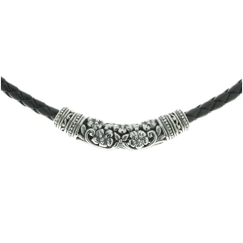 Kelly necklace has an intricately carved sterling silver bead on a woven black vinyl choker, 42cm long.