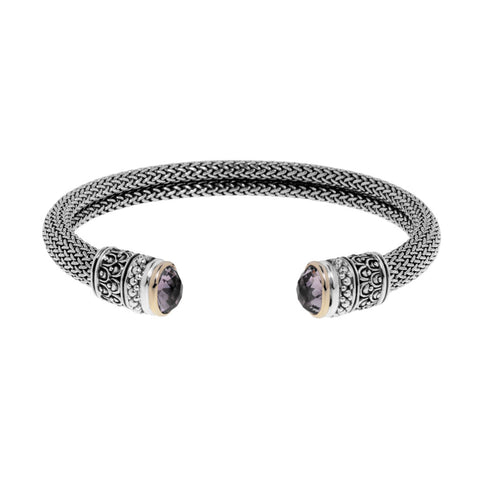 Maya bangle is a sterling silver mesh cuff bangle featuring Bolivian amethysts, 14ct yellow gold trims, and carved sterling silver detailing, ref 5376.