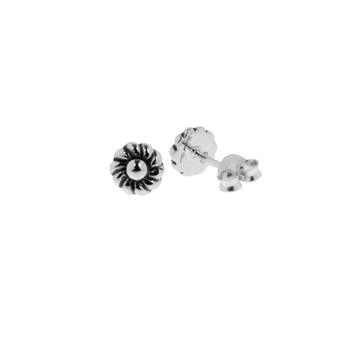 Small floral motif stud earrings with sterling silver posts and butterflies.