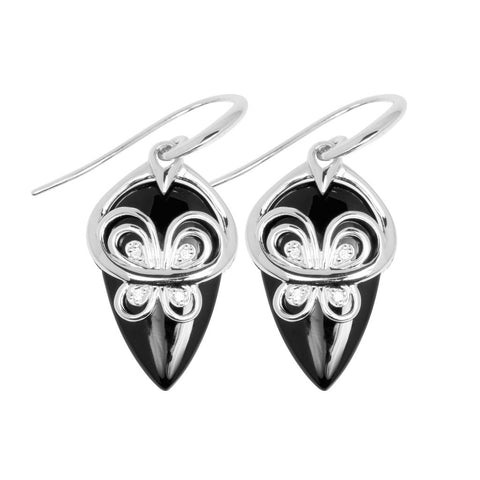 Drop earrings with sterling silver butterfly design laid on black agate featuring white crystals in the butterfly wings, ref 7430.