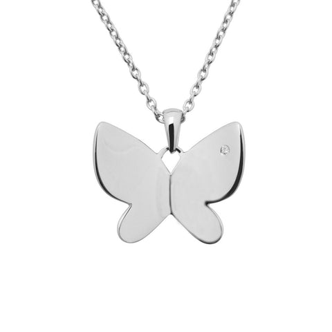 Sterling silver necklace 40cm long with a butterfly shaped pendant with a white diamond in one corner, wings slant away from the body, ref 7394.