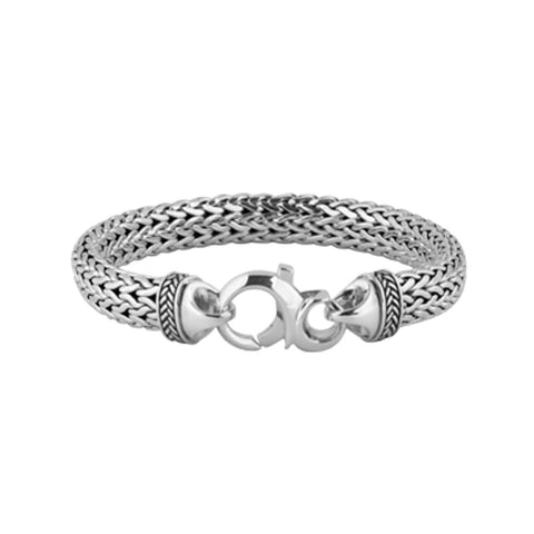 Dragon bracelet wide is a woven sterling silver bracelet 6mm thick and 9.5mm wide, 21cm long.