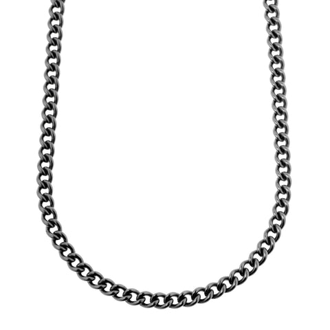 Mens stainless steel chain with curved and rounded curb links with a parrot clasp, 50cm long in polished finish in graphite grey, ref 4092.