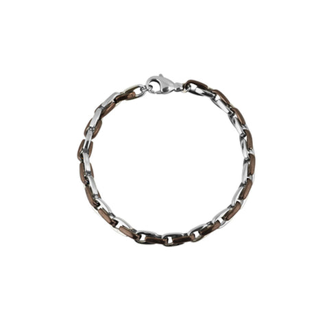 Mens link bracelet in alternating strands of stainless steel links and bronze PVD links, 21cm long, ref 5950.