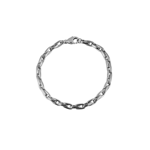 Mens bracelet in two-tone with alternating links of stainless steel in matt finish and stainless steel in polished links, 21cm, ref 5953.