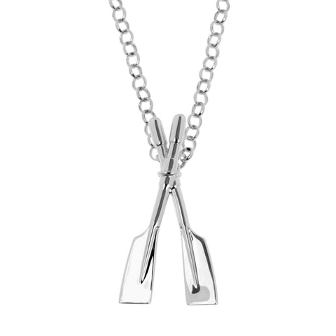 Rowing oars pendant is a sterling silver slider pendant - the bale is concealed behind the point where the oars cross. It's hung on a sterling silver Belcher chain. Pendant 26mm long, ref 7134.