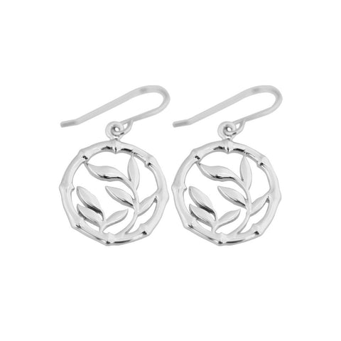 Sterling silver circle-shaped earring with infill of cut-out bamboo leaves, 35mm long, 7284.
