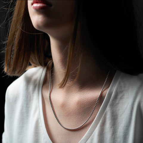 Dakota necklace is pretty and intricate and made of sterling silver, curved, interlocking rectangular links. Comes in 50cm and 60cm lengths, ref 6964.