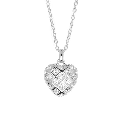 Sterling silver heart-shaped pendant with double-sided silver lattice pattern studded with white crystals, hung on a silver chain, ref 7446.