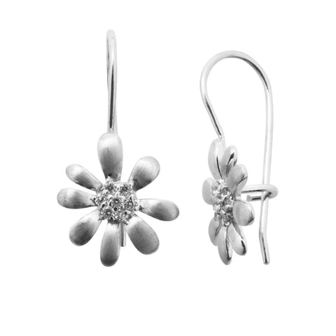 Daisy sterling silver drop earring with a cluster of white cubic zirconia stones in each centre and petals in matt finish, 14mm in diameter, ref 9394.
