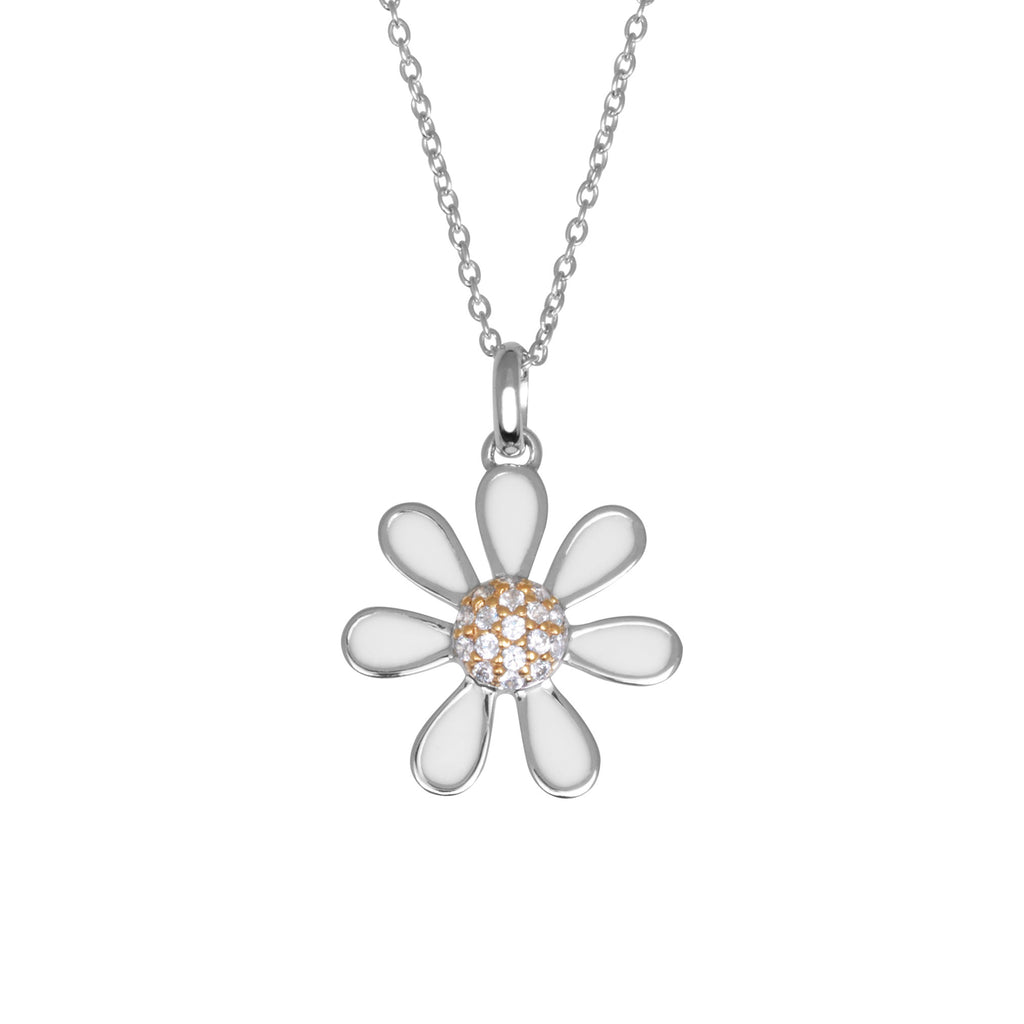 bling gold necklace jewelry whimsical daisy two pk pendant toned silver sterling flower