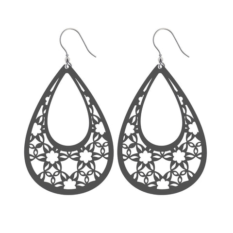Sterling silver laser cut drop earrings with floral cut-out motifs, 7.5cm long, ref 6776.