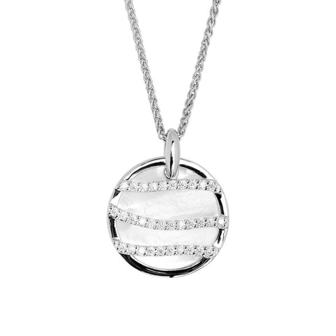 Round womens, sterling silver pendant 24mm in diameter, with mother-of-pearl and three strands of white cubic zirconia stones, hung on a silver chain, ref 7254.