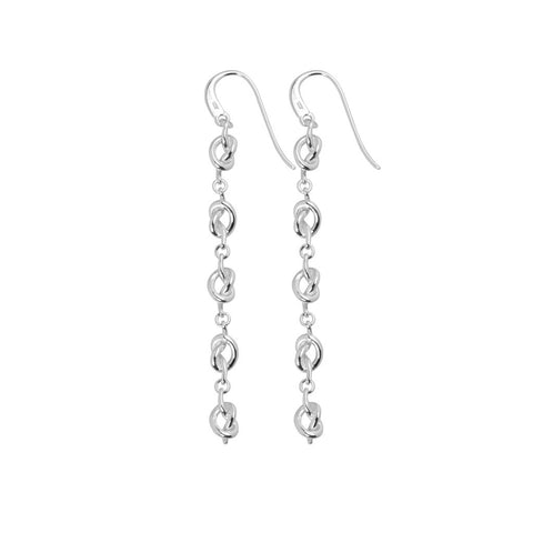 Womens sterling silver drop earring featuring 5 knots and rings 75mm long, ref 7157.