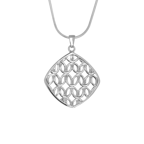 Sterling silver pendant 26mm wide with cut-out, continuous knot pattern hung on a Giotto chain, ref 7300.