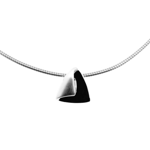 Sterling silver slider pendant, 12mm long, folded to a triangular shaped curl threaded on a silver choker, ref 7366.