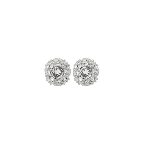 Womens sterling silver round stud earrings encrusted with small crystals with a large crystal in the centre, 7mm in diameter, ref 7160.