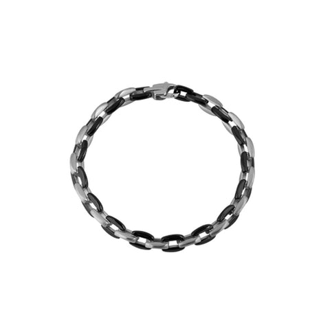 Stainless steel bracelet 21cm long with alternating matt and polished black PVD links, ref 5948.