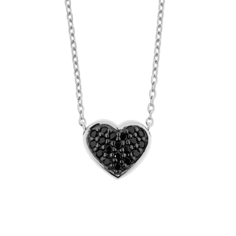 Charlie necklace features a dainty heart-shaped pendant covered in black cubic zirconia stones with a fine chain necklace, heart 12mm across and necklace 40cm with 5cm extension, ref 7528.