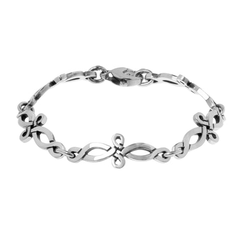 Celtic infinity bracelet has 5 quintessential Celtic infinity links in a rustic style, each 3.2cm long. Bracelet 18cm long, ref 7537.
