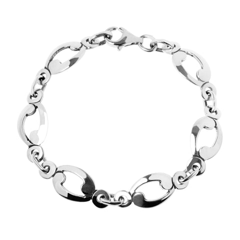 Bobbi bracelet is a rustic bracelet comprising swirled sterling silver links.  The links are gently curved so as to follow the curvature of your arm, 18cm long, ref 7538.