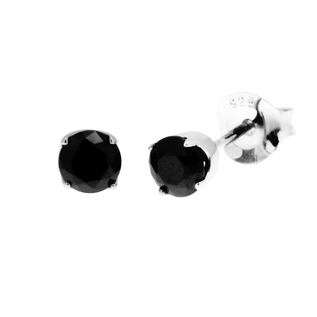 817c0ef6e Womens sterling silver stud earring with round, faceted black cubic  zirconias in claw setting, ...