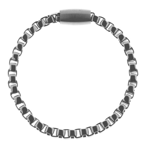 Mens stainless steel bracelet 21cm long with interlocking, curved square links 5mm wide in contemporary design with a magnetic feature clasp, ref 6894.