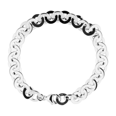 Womens sterling silver bracelet 15cm long with thick, flat links 5mm in diameter, ref 7388.