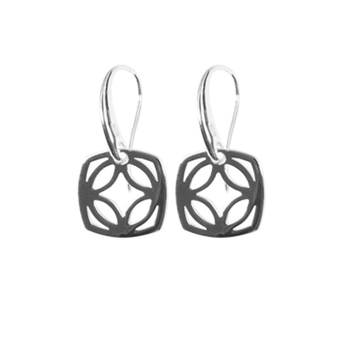 Womens sterling silver drop earring 14mm square with cut-out flower motif, ref 6508.