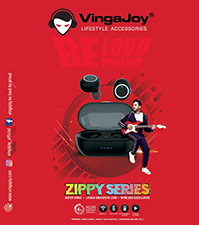 VingaJoy BT-100 Black Twins Earbuds ZIPPY Series