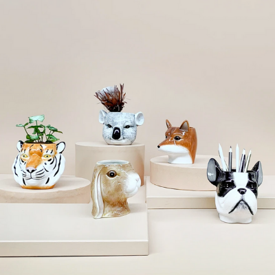 Ceramic Animal Planters by White Moose