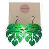 Glittery Monstera Leaf Earrings - Large