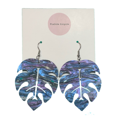 Medium Irridescent Leaf Earrings