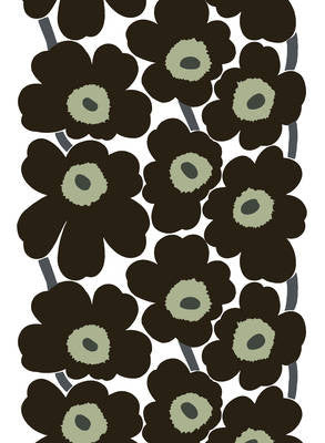 Marimekko Coated Cotton Fabric - Unikko Black / White