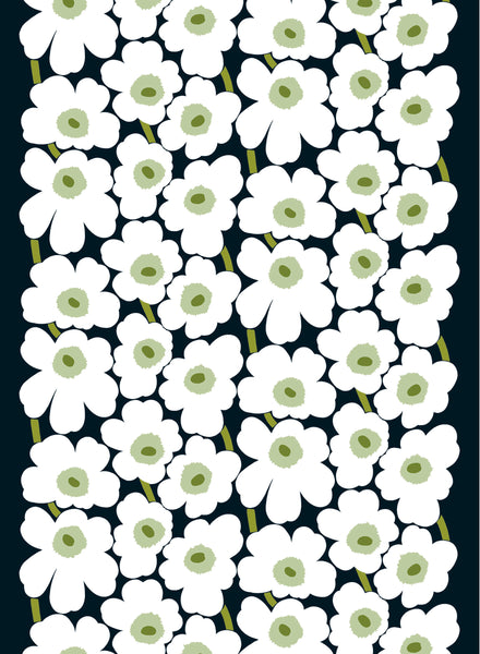 Marimekko 100% Cotton Fabric - Pieni Unikko  (Black, White, Green)