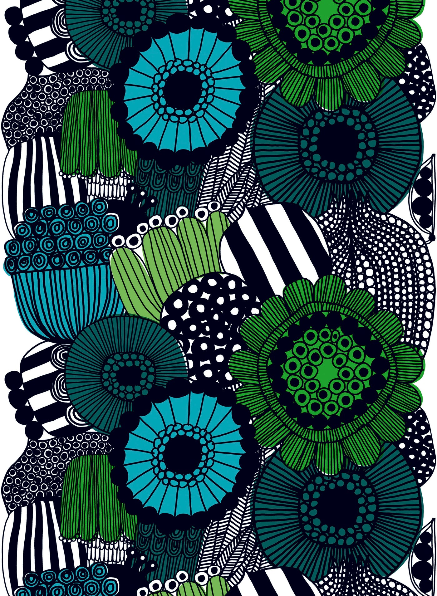 Marimekko 100% Cotton Fabric - Siirtolapuutarha (Black, White, Green)