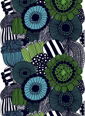 Marimekko Coated Cotton Fabric - Siirtolapuutarha - White, Green, Black