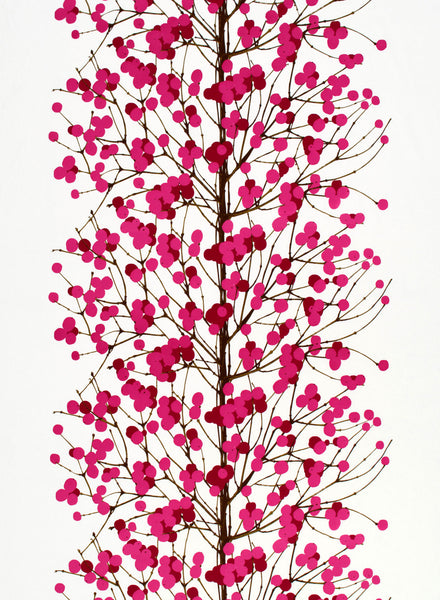 Marimekko 100% Cotton Fabric - Lumimarja ( White, Red, Pink Brown)