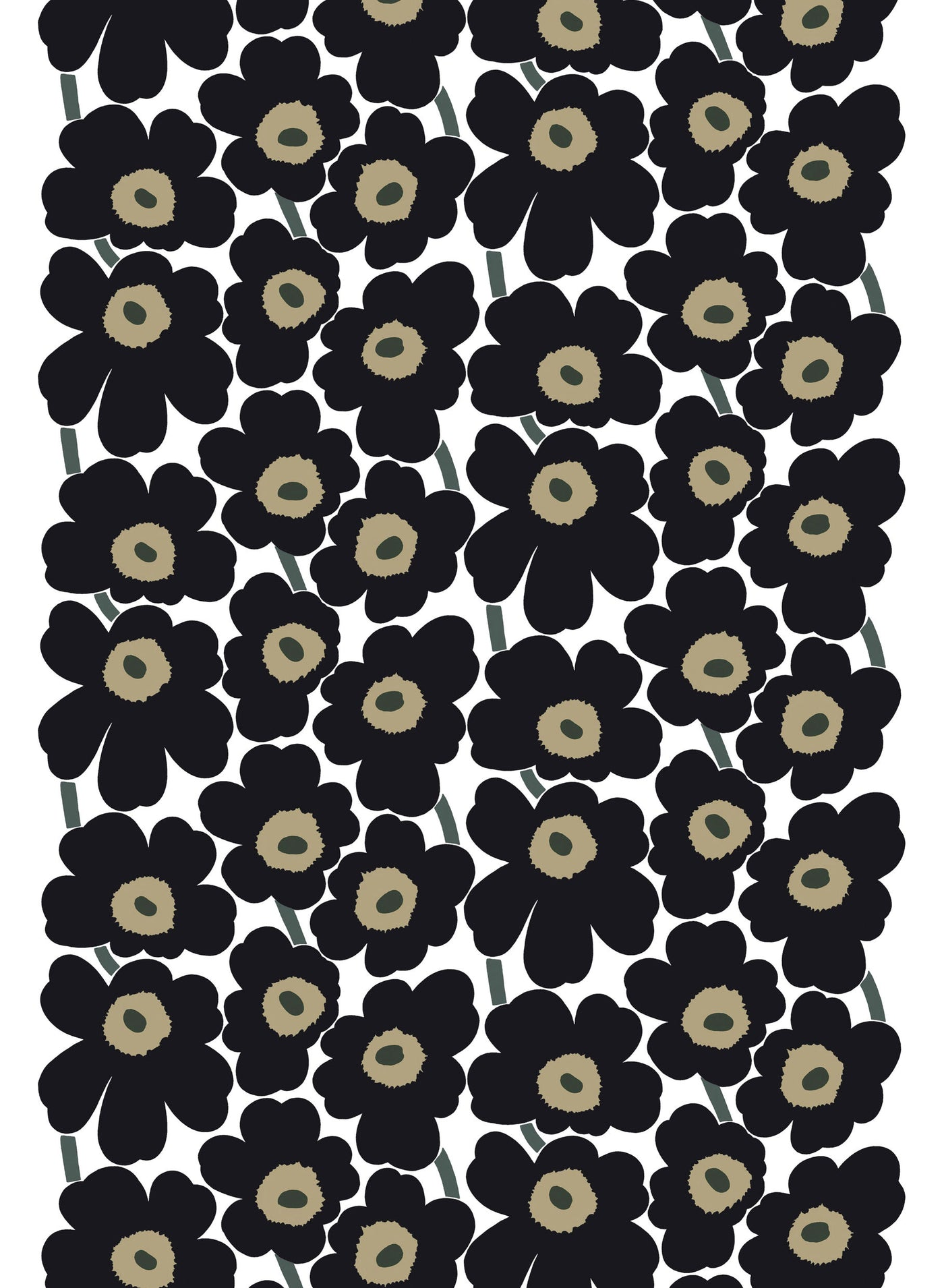 Marimekko 100% Cotton Pieni Unikko Fabric White / Black